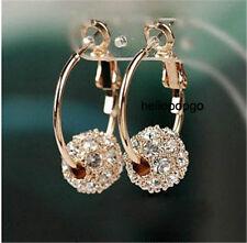 18K Rose Gold Gp Austrian Crystal Ball Hoop Jewelry Earring/Earrings BR1079