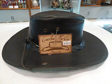 Genuine AUSSIE MADE 'Coastline'100% Cowhide leather Hat(black/brown)S,M,L,XL,XXL