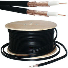 100M RG59 Twin Coaxial Shotgun Cable -Pure Copper & Foam- Satellite Dish SKY HD