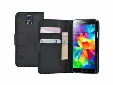 WALLET Black Leather Flip Case Cover Pouch Samsung Galaxy S5 +2 SCREEN FILMS