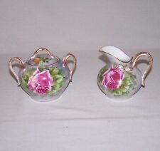 VINTAGE HAND PAINTED ROSE AND SIGNED LAMBEA LIMOGES SUGAR BOWL AND CREAMER L@@K