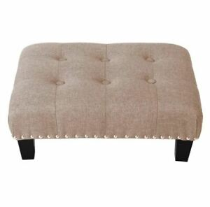 WarmieHomy Ottoman Buttoned Footstool Linen, Beige H20 x W50 x D37 cm
