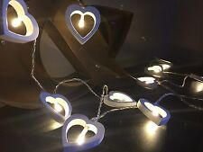 White Wooden Heart Fairy Lights String 16 LED Shabby Wedding Party Decoration