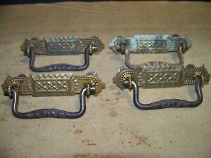 4 Vintage Ornate Victorian Drawer Pulls Handles Drop Bale Art Nouveau Brass Old
