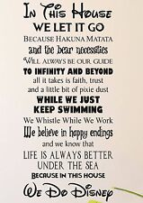 IN THIS HOUSE We Do Quote Rules Vinyl Wall Art Sticker DECOR Kids DISNEY Style