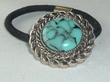 FAUX TURQUOISE & SILVER  PLASTIC ELASTIC PONYTAIL HOLDER, UP-DO ACCESSORY