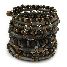 Wide Coiled Ceramic, Acrylic, Glass Bead Bracelet (Black, Bronze, Grey) - Adjust