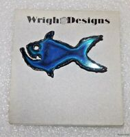 Vintage Metal Art Blue Fish Pin / Brooch Handcrafted Jewelry David Wright Design