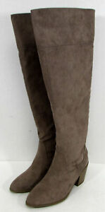 $100 Madden Girl Womens Melindaa Over The Knee Boot Shoes, Dark Taupe, US 6.5