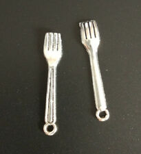 30pc Charms fork Pendant Beads Jewellery Making Tibetan Silver Wholesale  J0043