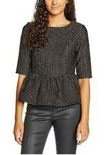 Darling Ladies Top UK 12 Black & Gold Peplum Zip Up Back Wool Effect Fitted