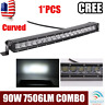 "19"" Inch 90W Curved LED Light Bar Single Row Spot Flood Combo Offroad ATV 20"""