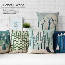 "New Winter Ice Snow Trees Animal Linen Pillow Case Cartoon Cushion Cover 18""x18"""