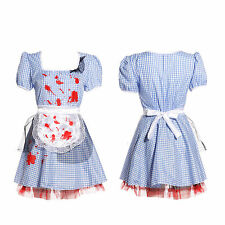 Scary Zombie Dorothy Maid Undead Ladies Fancy Dress Halloween Fairytale Costume