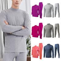 Unisex Winter Warm Cotton Pajamas Thermal Sleepwear Underwear Tops Pants 2pcs