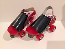 Rare 1970s Vintage Famolare vinyl & red wood sandals clogs disco roller skates 6