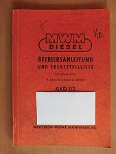 Ersatzteilliste Betriebsanleitung Handbuch MWM Klein-Dieselmotor AKD 112 D V