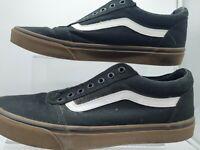 VANS Old Skool Skate Shoes Black/White/Brown Classic Canvas Sneakers UKSize 10.5
