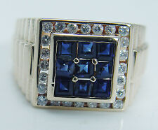 14K Yellow Gold Sapphires Diamonds Men Ring Estate Jewelry