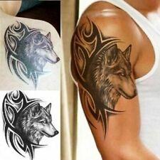 Flash Einmal Temporary Klebe Tattoo Wolf Tribal Schwarz Körper Body Geschenk