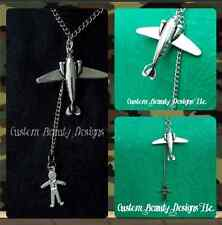 Airplane Paratrooper Sweetheart Necklace Pendant Skydiver Military Soldier Jump