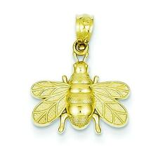 14K Yellow Gold Bee Charm Polished Pendant Jewelry 19mm x 15mm