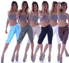 Leinenhose Damen Leinen Shorts Bermudas Caprihose stoffhose Cargohose Chinos L6