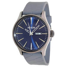 Nixon A0271258 Men's Sentry Blue Dial Grey Rubber Strap Watch
