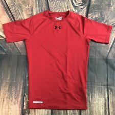 Men's Under Armour Heat Gear Compression Work Out Athletic Shirt Red Sz M