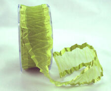 Lime Green Crinkled Satin Edge Organza Ribbon 38MM Wide