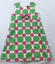 Mini Boden Girls 7-8 Years Pink Green Polka-dot Lined Cotton Sleeveless Dress