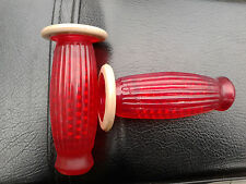 Lambretta Vespa Handle Bar Grips Barrel Balloon Grips 22mm Red & white
