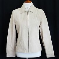 St. John's Bay Women's Jacket Size Small Washable Suede Leather Light Beige
