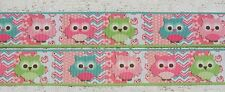 "1 x yard Colourful Owls 1"" Grosgrain Ribbon Craft Scrapbooking, cake Sewing Hair"
