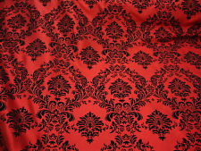 "75ft Red Flocking Damask Aisle Runner Taffeta Fabric 58"" Flocked Velvet"