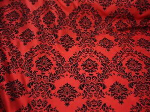 """50ft Red Flocking Damask Aisle Runner Taffeta Fabric 58"""" Flocked Velvet Event"""