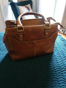 COLORADO Tan Brown Leather Shoulder Bag Handbag B28
