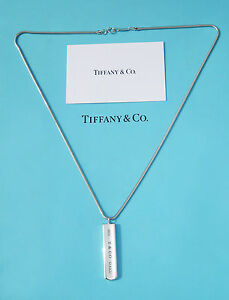 Tiffany & Co Sterling Silver Chain Mens 1837 Bar Charm Snake Chain Necklace