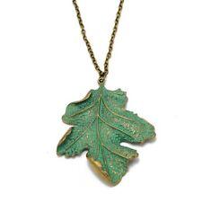 Bronze Oak Leaf Necklace Pendant Green Gold Large Natural Hand-painted