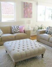Large buttoned footstool  velvet of white    oak wooden feet with chrome castors