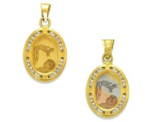 Baptism Christening Medal Pendant 14K Solid Gold Religious Necklace Charm