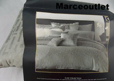Donna Karan Home Fuse Collection KING Duvet Cover & Euro Pillowshams Set Silver