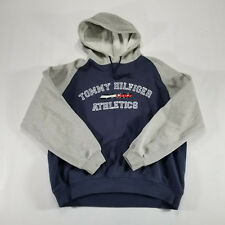 Tommy Hilfiger Athletics Navy FLAG Hoodie Reflective LARGE Spell Out VTG 90s