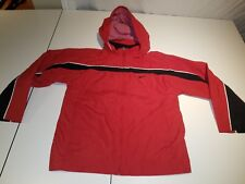 Nike Boys Wind Breaker Full Zip lightweight Jacket Size 7 Red and Black Hooded