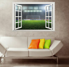 3D Fake Window  Soccer Stadium Bedroom Wall Decal Sticker Home Decal 51*72cm