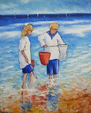 Peinture de CARIN 41x33 cm  pêche île de Ré garçon fille enfants pointillisme