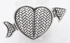 Heart Buckle Sterling Silver Pristine Kieselstein Cord Shot Through The