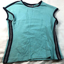 Athletic Works turquoise blouse with black trim, size M
