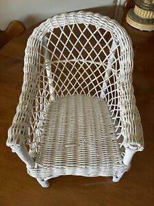 "Vintage White Wicker Child Chair Salesman Sample Plant Stand 12"" x 8"" x 8"""