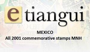 maz06 Mexico 2001 year complete, 27 commemorative  stamps SCV $ 36.50